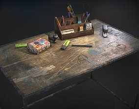 3D asset Desk with accessories