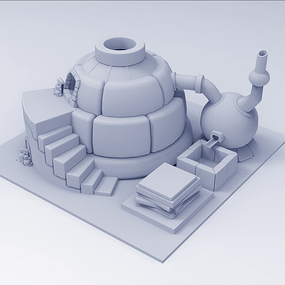 Low Poly Ancient Furnace