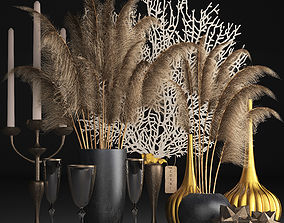 Decor with dry flowers Phragmites 3D