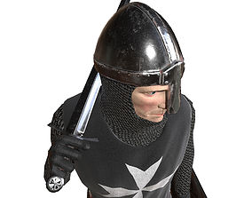 Knight Hospitaller rigged animated game ready 3D asset
