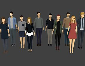 10 Low-poly Characters 3D model