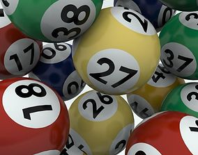 Lottery Balls with striped texture colors 3D