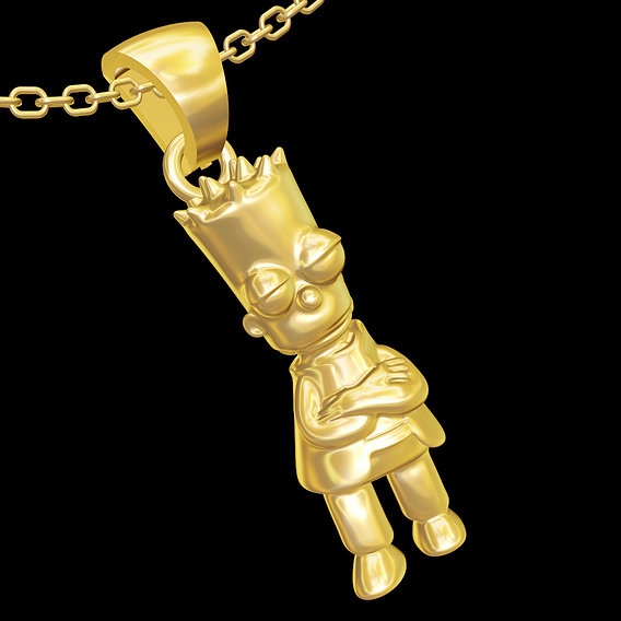Cool Bart Simpson pendant jewelry gold necklace 3D print model