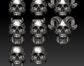 3D model Big skull and horn rings - Classic - 8