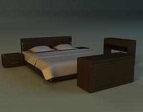 Bed dark wood 3D model