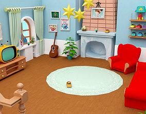 3D model Cartoon living room house