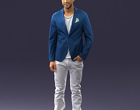 Smiling man in a blue jacket 0357 3D Print Ready