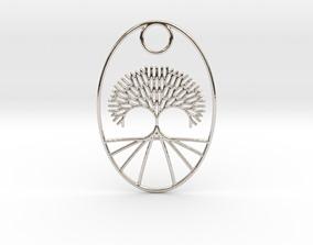 3D print model Oval Fractal Tree Pendant