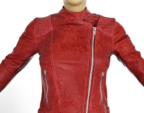 Jacket Red Matte Leather Clothing Women Fashion 3D model