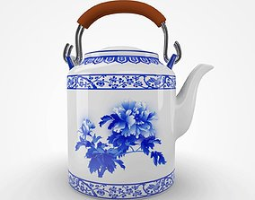 Chinese Blue and White Porcelain Teapot - Peony 3D asset 1