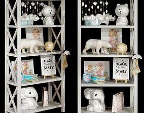 3D Kids bookshelf set 02