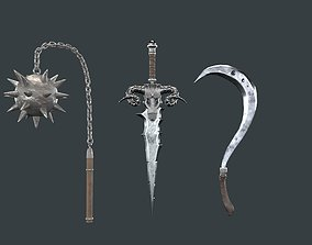 Medieval weapon set of three 3D model