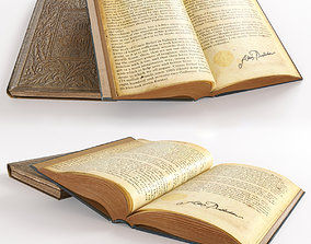diary open book on the table 3D model