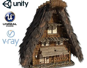 3D asset VR / AR ready Shirakawago Village Set House 1