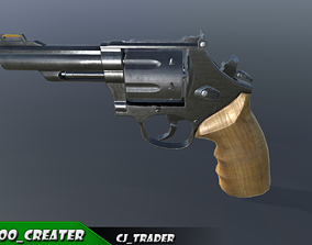 SM557 Revolver 44 Magnum Low-poly 3D model game-ready
