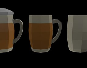 Low Poly Beer Mugs 1 3D asset