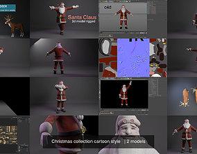 3D model Christmas collection cartoon style santa