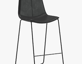 3D West Elm Slope Leather Bar Stool