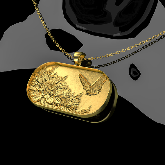 Butterfly Flowers Pendant jewelry Gold 3D print model