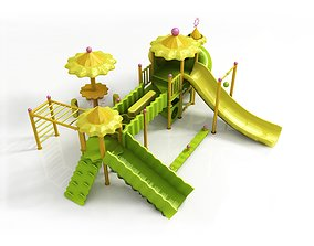 low-poly Children large amusement park toys 3D