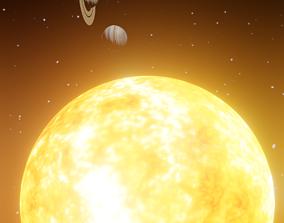 sun and planets comparison actual size 3D