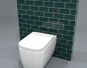 3D model Back to wall WC pan 57cm projection with sensor