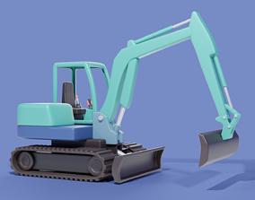 3D asset Cartoon Excavator Machinery