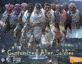 3D asset PBR Customized Alien Soldier