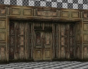 3D asset Wooden Arch Door 01