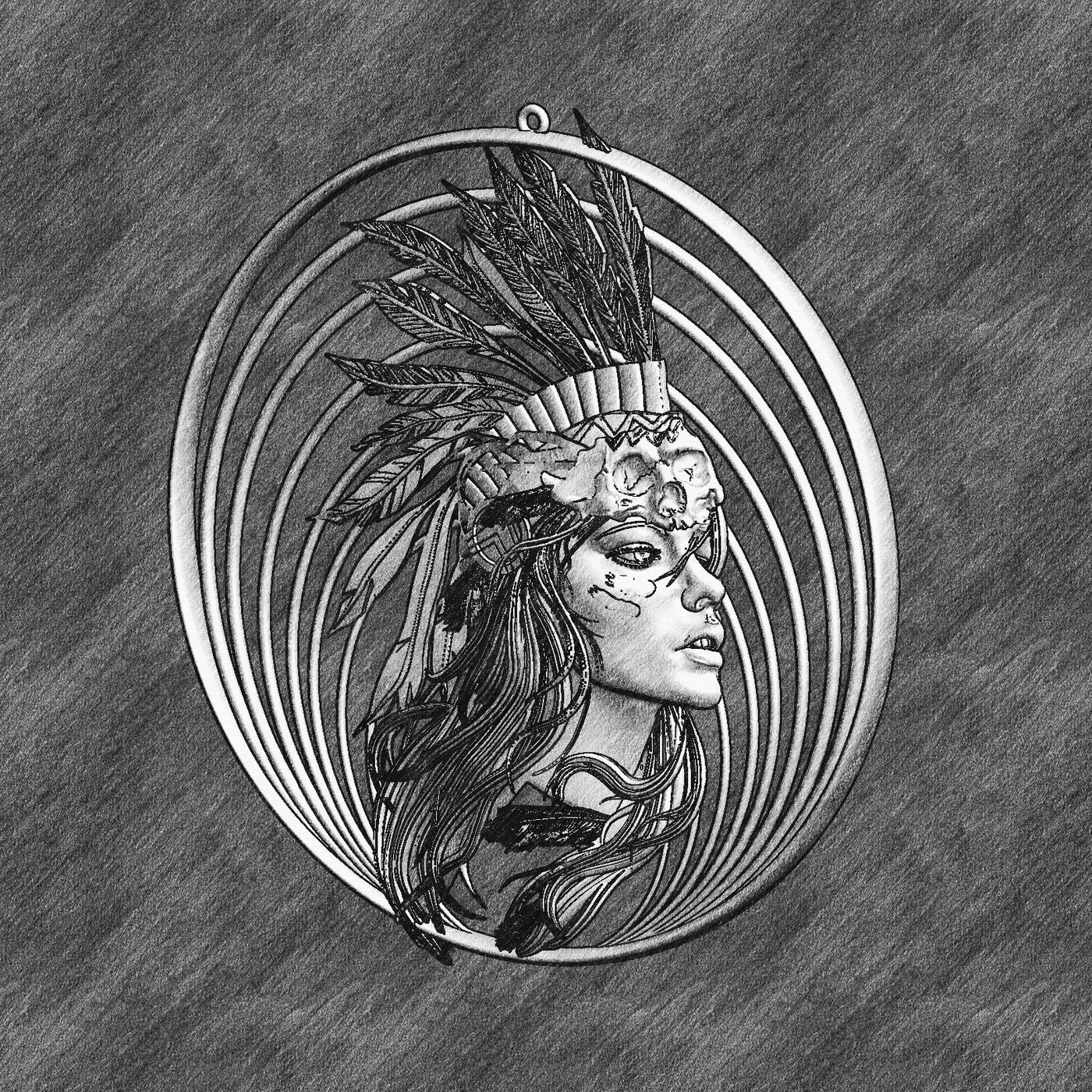 Indian Girl Pendant Jewelry Gold 3D print model