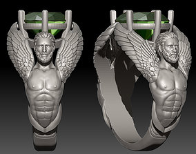 3D printable model Oval Angel Sculpture Ring jewelry gold
