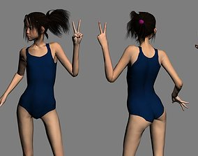 Akari schoolgirl 3D asset