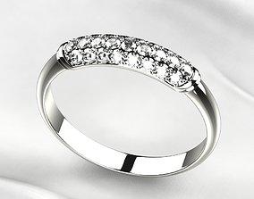 3D printable model Elegant Pave Gems Gold Ring