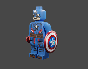 Lego base and Captain America 3D printable model 1