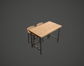3D model Pale Wood and Metal Breakfast Bar and Chair