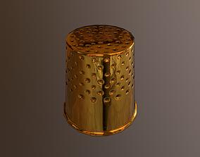 3D asset VR / AR ready Golden Thimble