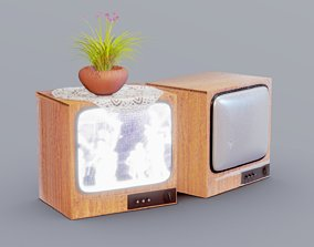 Old Retro TV ON and Dusty OFF 3D asset
