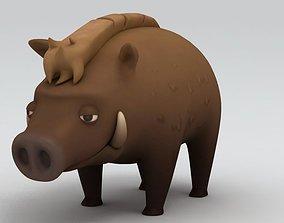 zoo Boar Character 3D