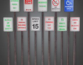 3D model Parking Signs - CLA - PBR Game Ready