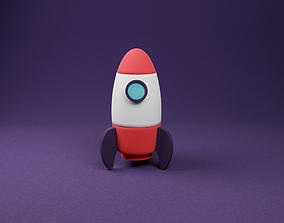 Cartoon Rocket illustration 3D model