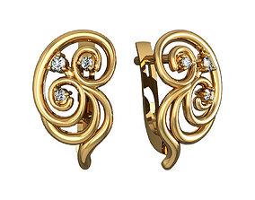fashion jewelry print Earrings 3D model
