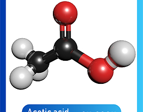 Acetic acid 3D Model CH3COOH lab