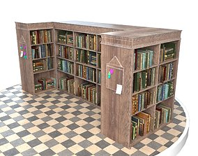 Old Bookshelf 3D model game-ready
