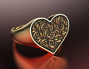 3D print model Valentines day heart signet ring with