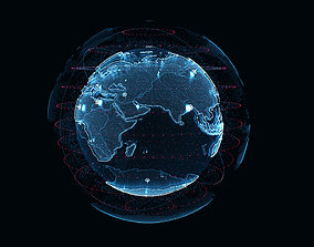 3D model Animated Hologram Planet Earth v2
