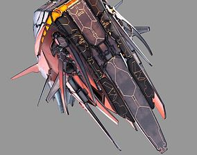 alien 3D model Starship