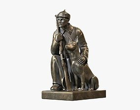Border Guard with Dog 3D