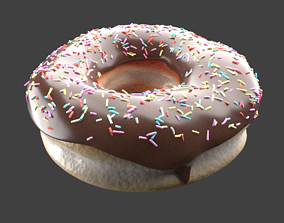 Photorealistic Chocolate Donut with Multicolor 3D model