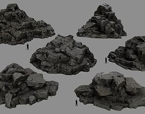 3D asset low-poly moss mountain rocks