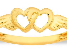3D printable model fashion-ring double heart ring